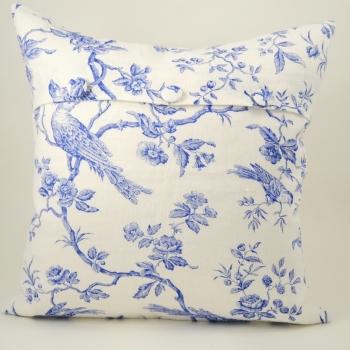 Blue Bird Linen Cushion