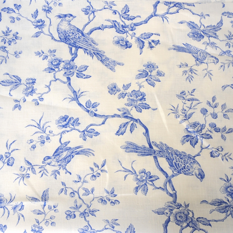 Blue Birds on White Linen Fabric