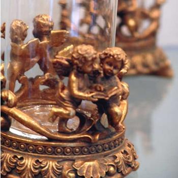 Gold Cherub Candle Holder