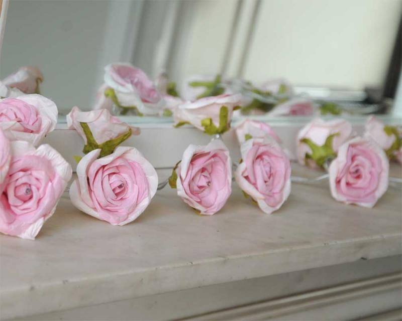 Pink rose garland fairy lights pale pink rose garland fairy lights mightylinksfo