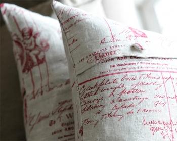 Red Cherub Writing Linen Cushion