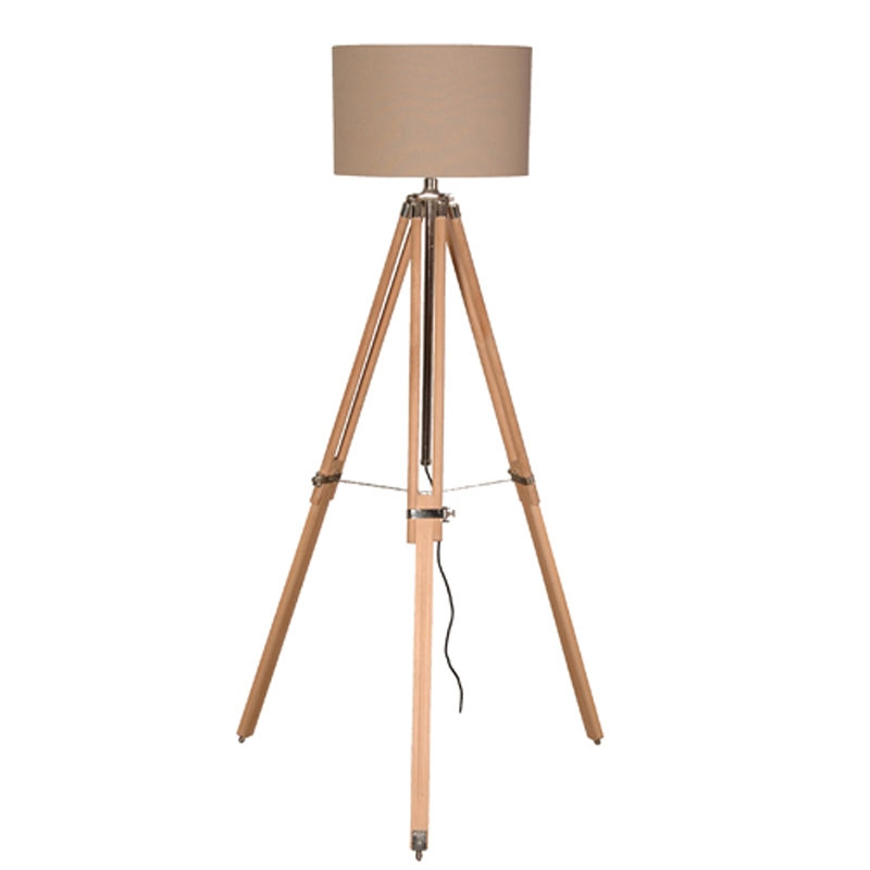 Wooden Brass Tripod Floor Lamp